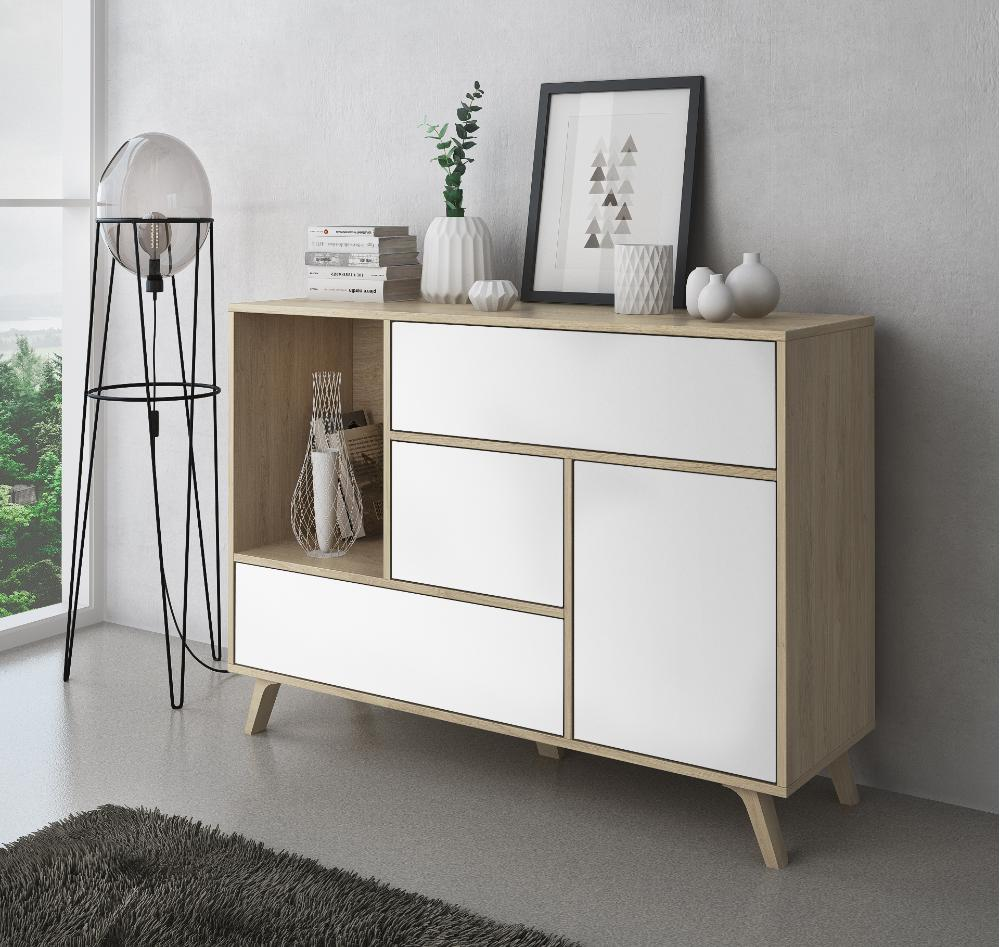 Mueble Buffet WIND, Color estructura Puccini, color puerta y cajones Blanco.