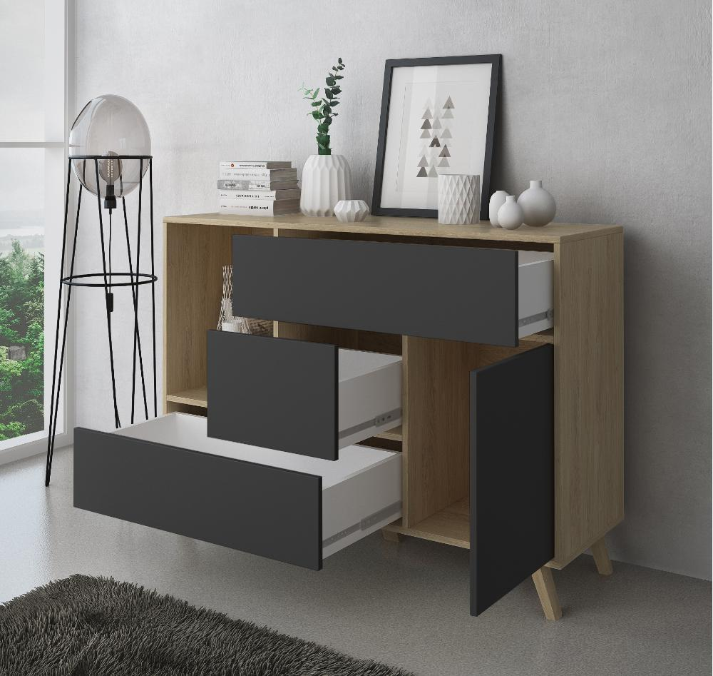 Mueble Buffet WIND, Color estructura Puccini, color puerta y cajones Gris Antracita.