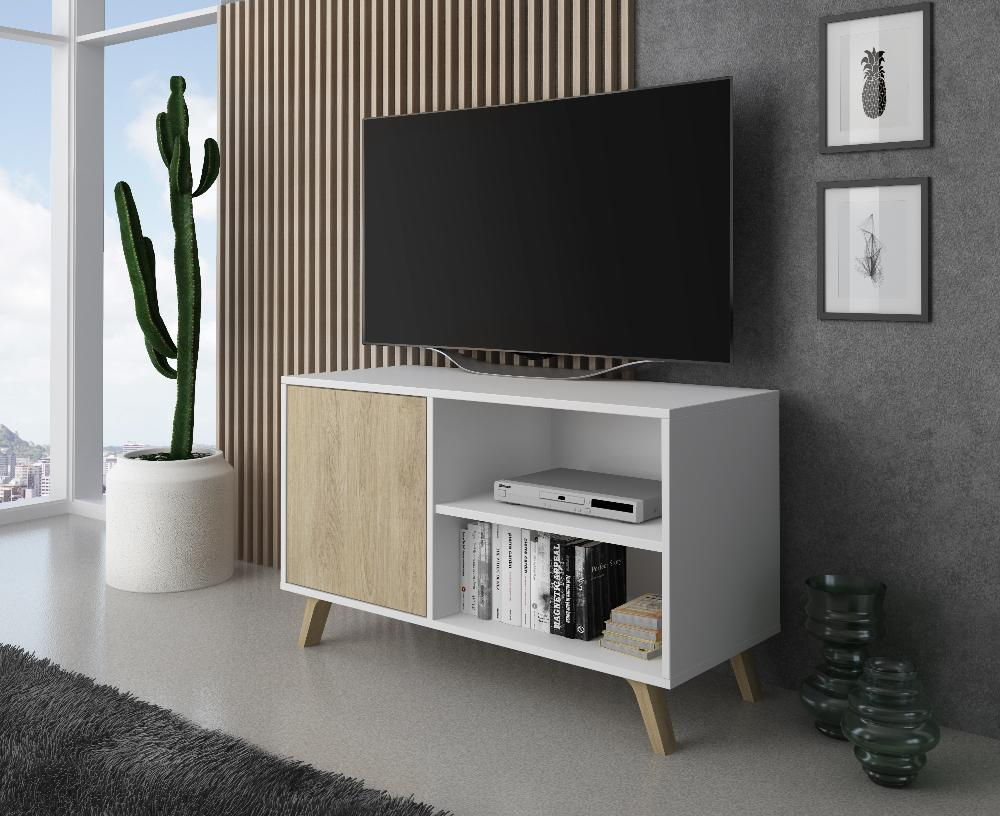 Mueble TV 100 Modelo WIND, color estructura Blanco, color puerta Puccini