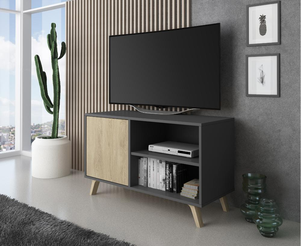Mueble TV 100 Modelo WIND, color estructura Gris Antracita, color puerta Puccini