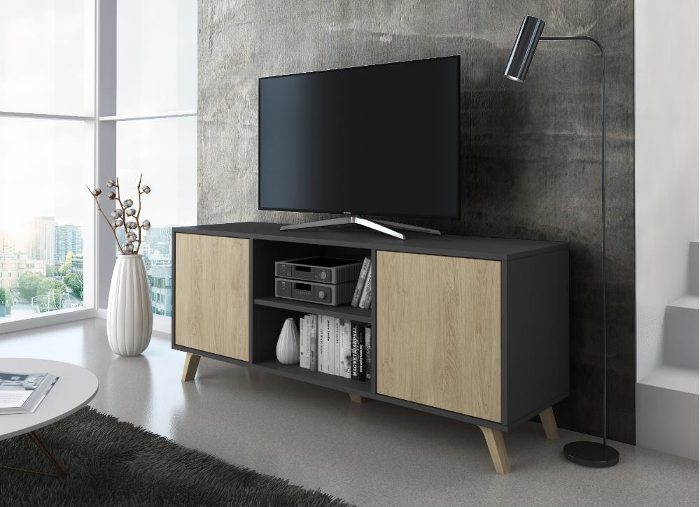 Mueble TV 140 Modelo WIND, color estructura Gris Antracita, color puertas Puccini