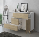 Mueble Buffet WIND, Color estructura Blanco, color puerta y cajones Puccini.