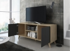 Mueble TV 140 Modelo WIND, color estructura Puccini, color puertas Gris Antracita