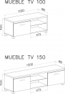 Mueble TV 150 led Blanco