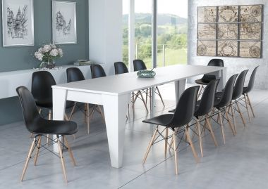 Mesa TM extensible hasta 305cm, color blanco